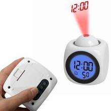 Outdoor Camping Projection LED Display Time Digital Alarm Clock Talking Voice  Thermometer Multi-function