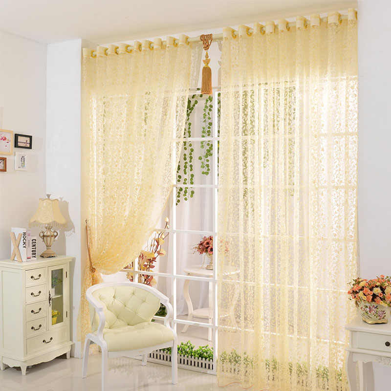 Print Flower Voile Door Curtain Window Room Curtain Divider Scarf Yellow,Pink,Purple Voile Curtain 200cm x 100 cm +5$