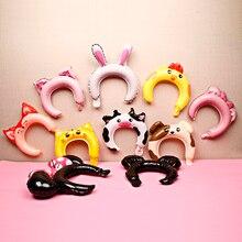 6/10pcs Kids Cute Animal Headband Foil Balloon Mickey Minnie Panda Frog Fox Baby Shower Happy Birthday Wedding Party Decoration