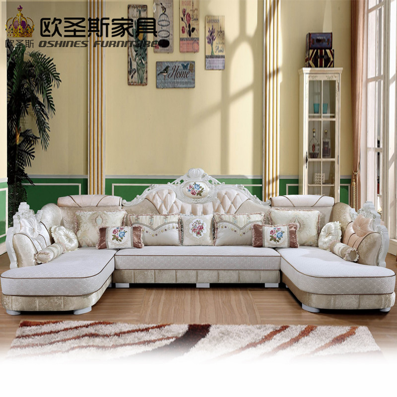 luxury U shaped sectional living room furniutre Antique Europe design new classical heart wooden carving fabric sofa sets 8616 the new listing luxury living room