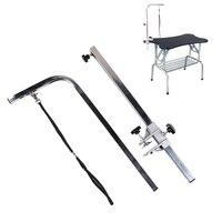 105cm Pets Grooming Bracket with Sling Adjustable Steel Suspender Grooming Table Arm Support Dog Cat Holder for Bath Desk