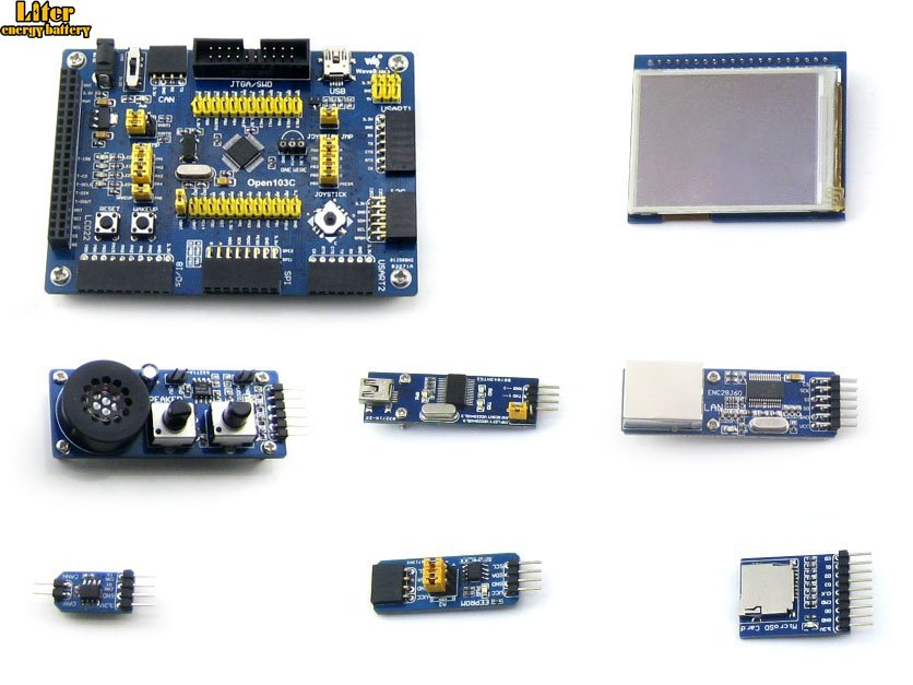 Open103C Package A=STM32 Development Board Kit,STM32F103CBT6 STM32F103 ARM Cortex-M3+2.2inch 320x240 Touch LCD+7 Modules