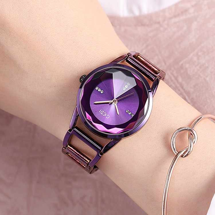 2019 New GEDI Fashion Starry sky Women Watches Purple Blue Ladies Quartz Watch 2 Pieces Watches Stainless Steel Waterproof