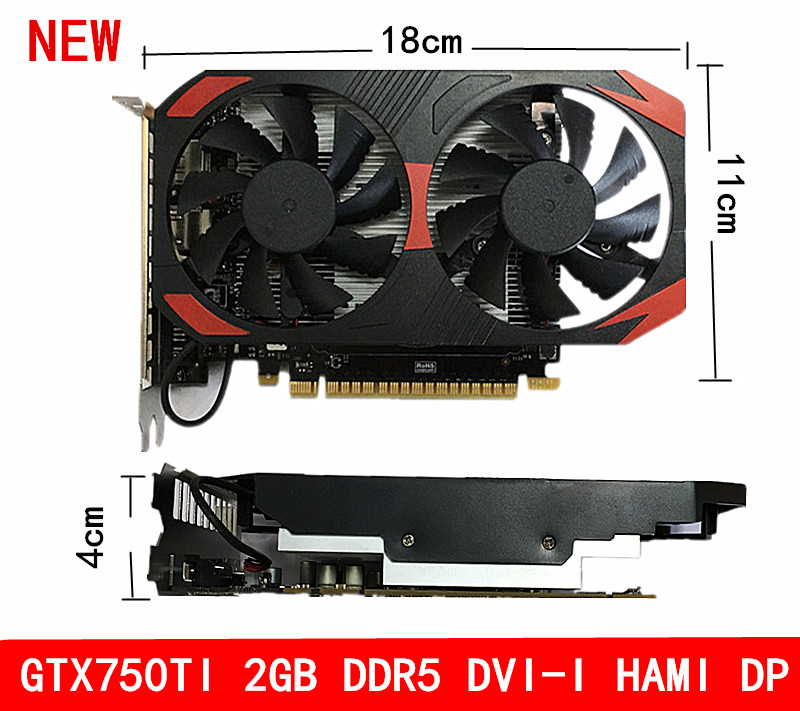 new OEM GTX750TI 2GB DDR5 Support for triple frequency stand alone desktop computer game Video card WIN10