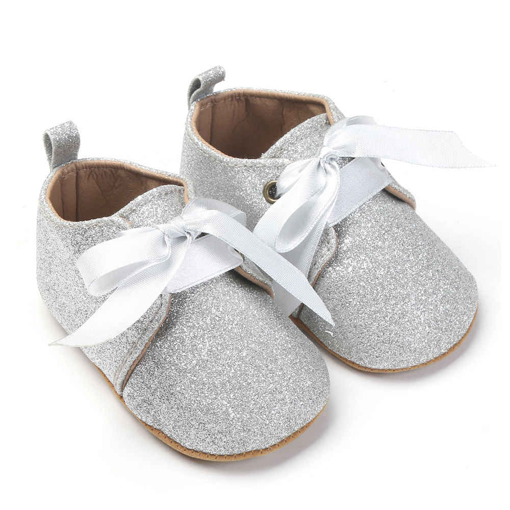 4e898deb8731 ... 2017 New Infant Baby Boy Girl Glitter Trainers Soft Sole Pram Shoes  Leopard Bow Baby First