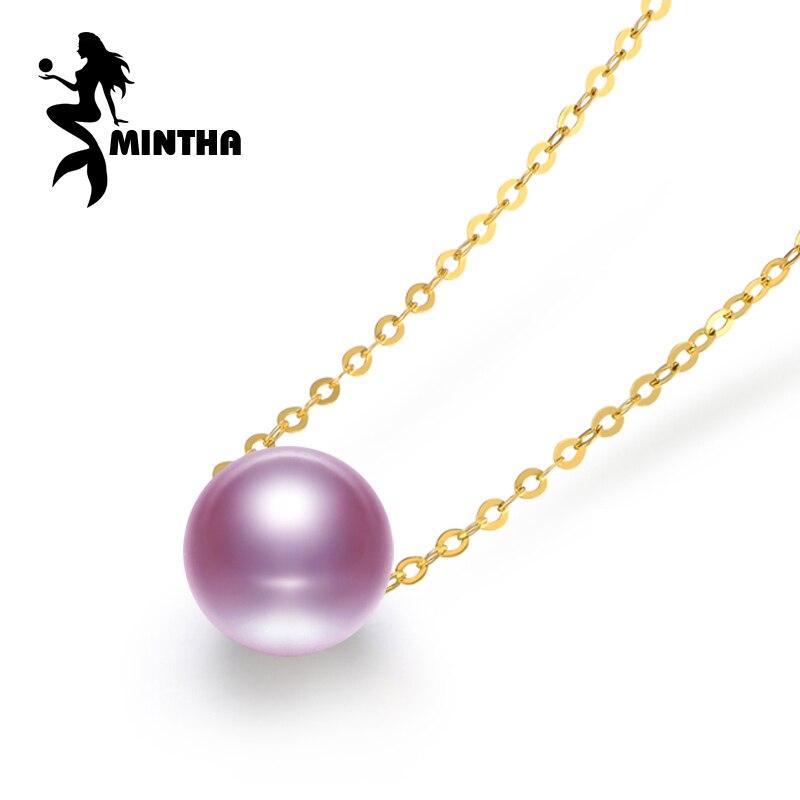 MINTHA 18 K Or peandant perle Bijoux colliers et pendentif pour les amoureux fine bijoux perle pendentifs envoyer avec 925 argent collier