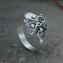 S925 Silver Ring Mythical Wild Animal 13.40mm Wide Ring Male Money Ring 100% 925 Sterling Silver Jewelry цена