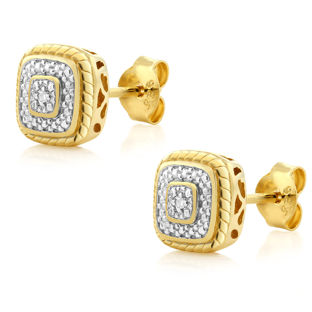 GemStoneKing 18K Yellow Gold Plated 925 Sterling Silver Diamond Accent Princess Cut Stud earrings For Women