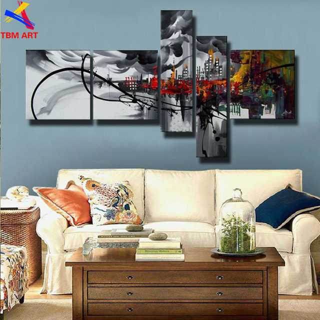 5 Pieces ,Large Handmade Modern Canvas Oil Painting Wall Art ,Free Shipping Worldwide Z075