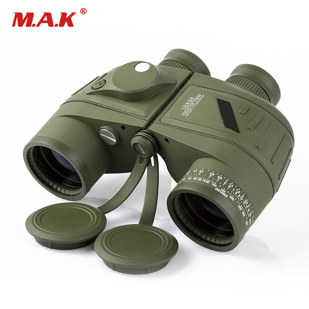 10x50 Waterproof Navy Telescope Fogproof HD Binoculars With Rangefinder Compass Reticle Illuminant Night Vision Hunting