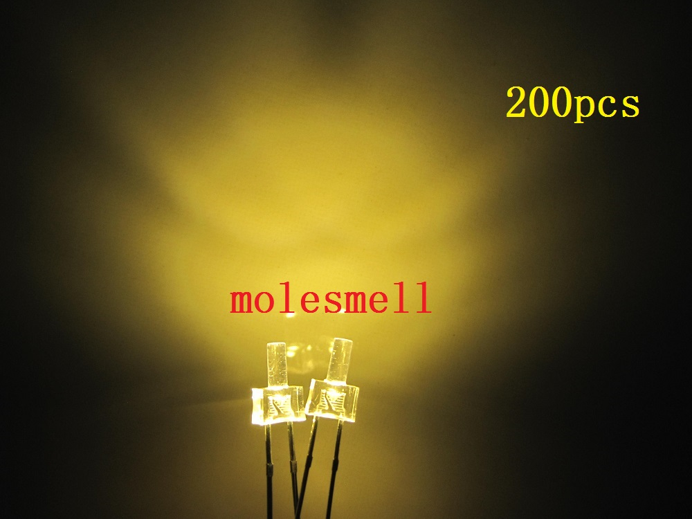 200pcs 2mm Warm White Flat Top Water Clear Led Diodes 12000MCD Leds Light Lamp