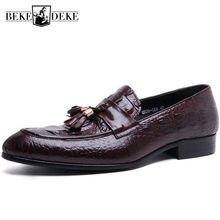 d0a862072f De moda negro marrón mocasines zapatos de baile Zapatos de vestir para  hombre zapatos de hombre de cuero genuino Formal boda zap.