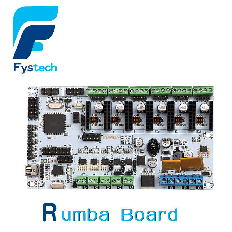 Free shipping 3D printer controller board Rumba motherboard supports three extruder 3D printer accessories 3d printer driver controller rumba  usb cable