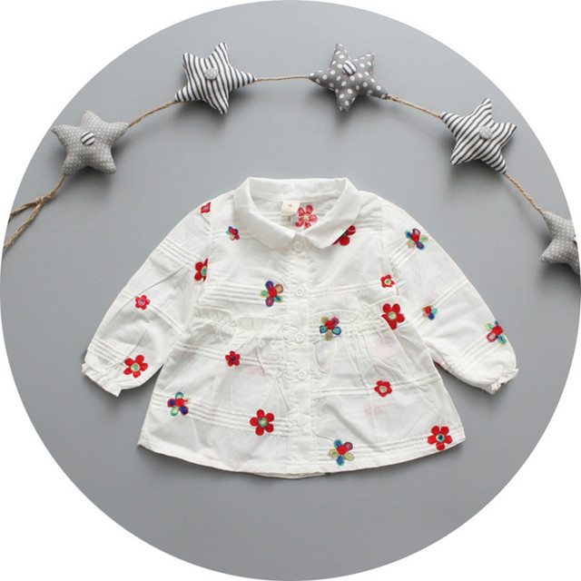 2016 ребенок ребенок весенние цветы изысканной вышивкой хлопчатобумажную рубашку в нью-девочка белый цветок рубашка