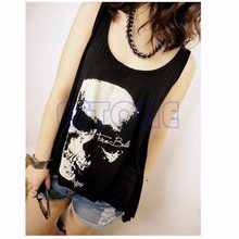 Vintage Gothic Schedel Backless Sexy vrouwen lady T-shirt top Tank Vest Punk Rock Zomer Singlet Kwastje Open Zwarte lange teeBlouse(China)
