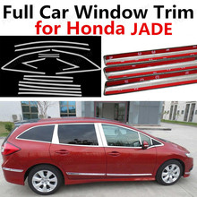 freeshipping Car Styling Stainless Steel Full Car Window Trim Cover Exterior Accessories For Honda Jade With Column
