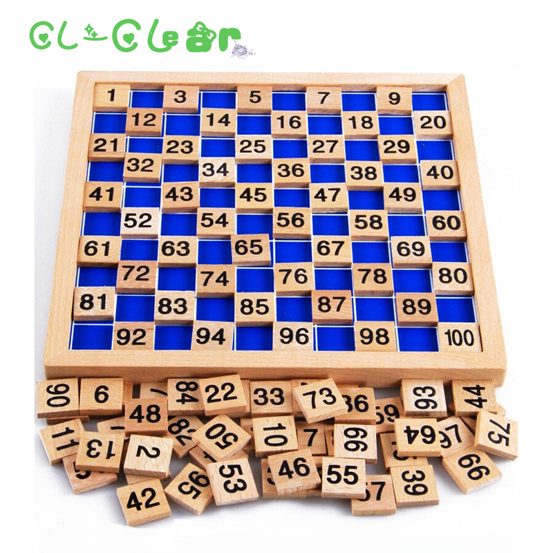 Wooden Montessori Teaching Aids Mathematics 1 - 100 Consecutive Numbers Counting Board Plate Toy
