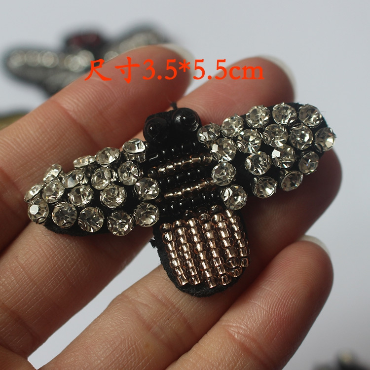 6pcs Black Beaded Crystal Pearl Diamond Small Size Bees Clothes Hat Decorative Applique Embroidery Patches