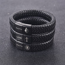 Jiayiqi Men Customized Engraving Punk Leather Bracelet Stainless Steel Magnet Clasp Bangle Male Jewelry Fashion Best Gift