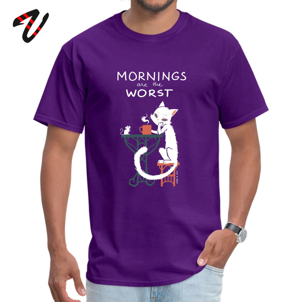 Mornings are the worst Dominant Men T Shirts Crew Neck Short Sleeve Cotton Tops Shirts Customized Tops Shirts Top Quality Mornings are the worst -13730 purple