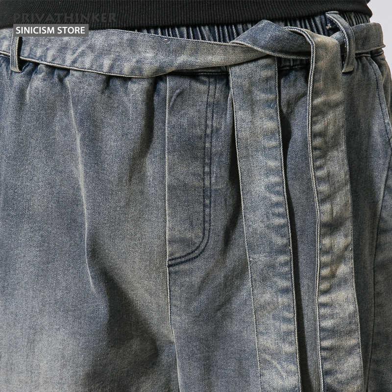 Sinicism مخزن الرجال الجينز الرجال الحريم الجينز السراويل الذكور الرباط حزام خمر السراويل