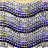 Blue White Grey Wave Ceramic Mixed Electroplating Crystal Glass Mosaic Tiles Bathroom Bedroom Floor Art Design Stickers