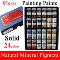 24 цвета Твердые краски для рисования натуральный пигмент для китайской живописи минеральные пигментные краски