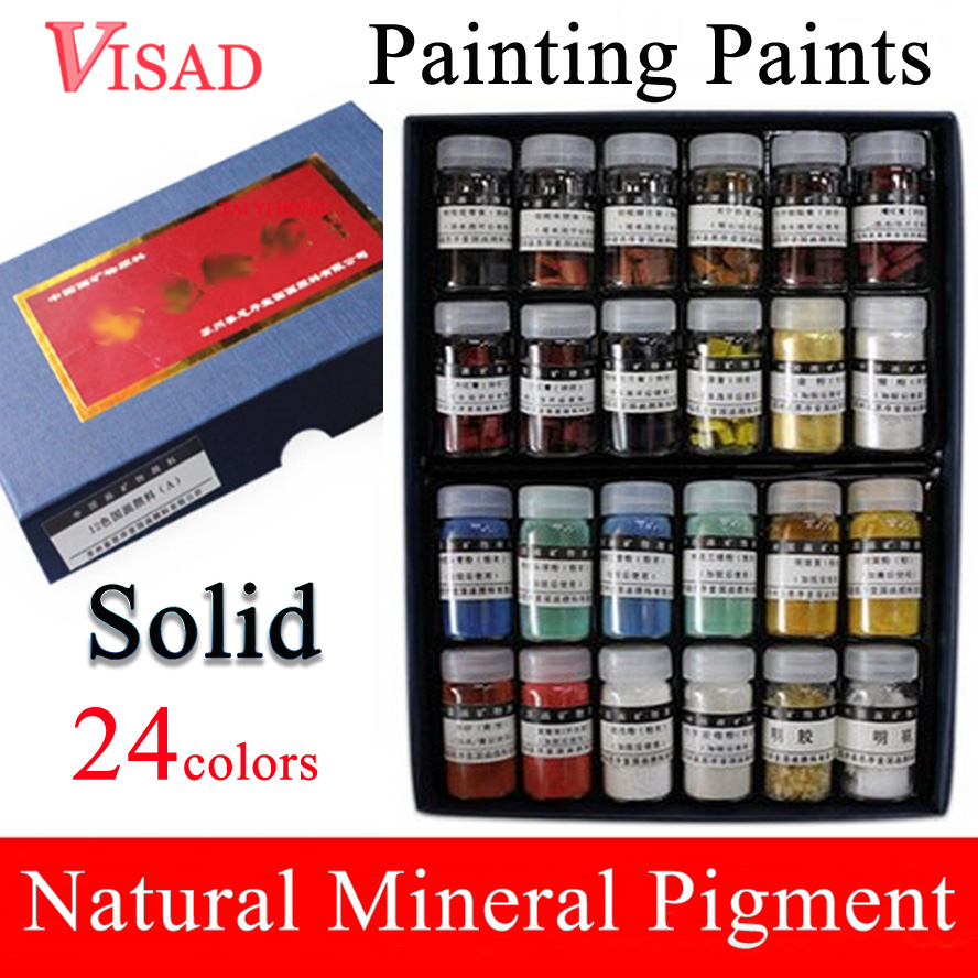 24 colors Solid Painting Paints Natural pigment for Chinese Painting Mineral Pigment Paints natural water sorghum pigment extract 300g lot