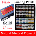 24 colors Solid Painting Paints Natural pigment for Chinese Painting Mineral Pigment Paints