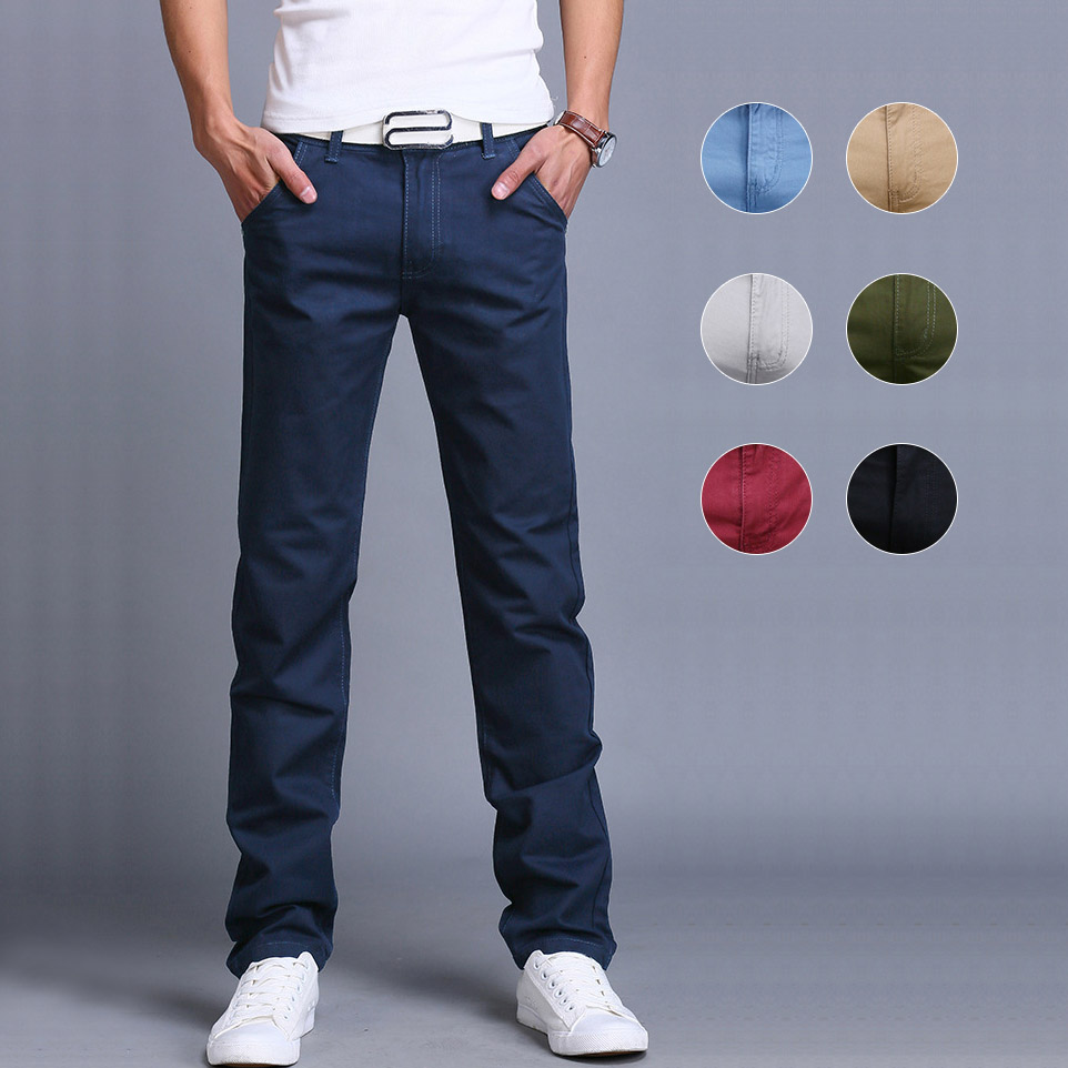 Casual Pants Trousers Spring Slim Straight Cotton Fashion Men Summer Business