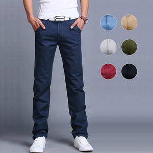 Casual Pants Trousers Business Straight Cotton Fashion Men Summer Spring Slim