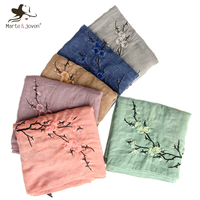 Marte Joven Chinese Style Plum Flower Embroidered Women Pure Color Scarf Shawls Ladies Retro Autumn Winter