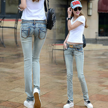 Весна и лето размера плюс хлопок для женщин девушек эластичный облегающий с заниженной талией брюки карандаш джинсы одежда