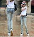 2016 a primavera eo verão novo plus size de algodão das mulheres do sexo feminino meninas elastic skinny calças lápis cintura baixa roupa roupas de jeans