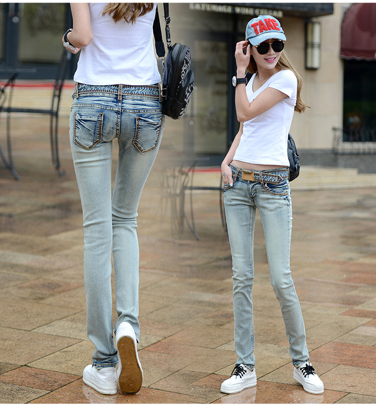 2018 spring and summer new plus size cotton female women girls elastic skinny low waist pencil pants <font><b>jeans</b></font> clothing clothes