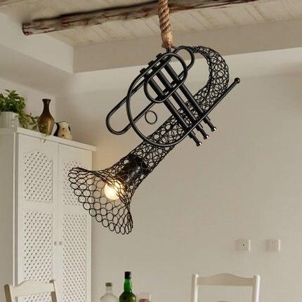 Corde de chanvre pastorale Vintage industriel pendentif éclairage lampe lumières en fer forgé led e27 Loft Sax américain pays café lampes