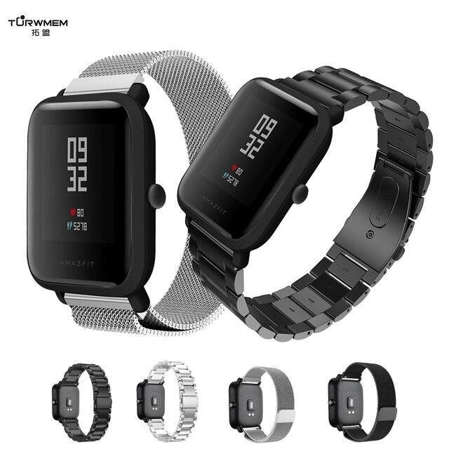 Pulsera de 20mm para Xiaomi Huami Amazfit Youth Smart Watch correa de acero inoxidable de Metal correa de acero para Amazfit Bip la banda de muñeca