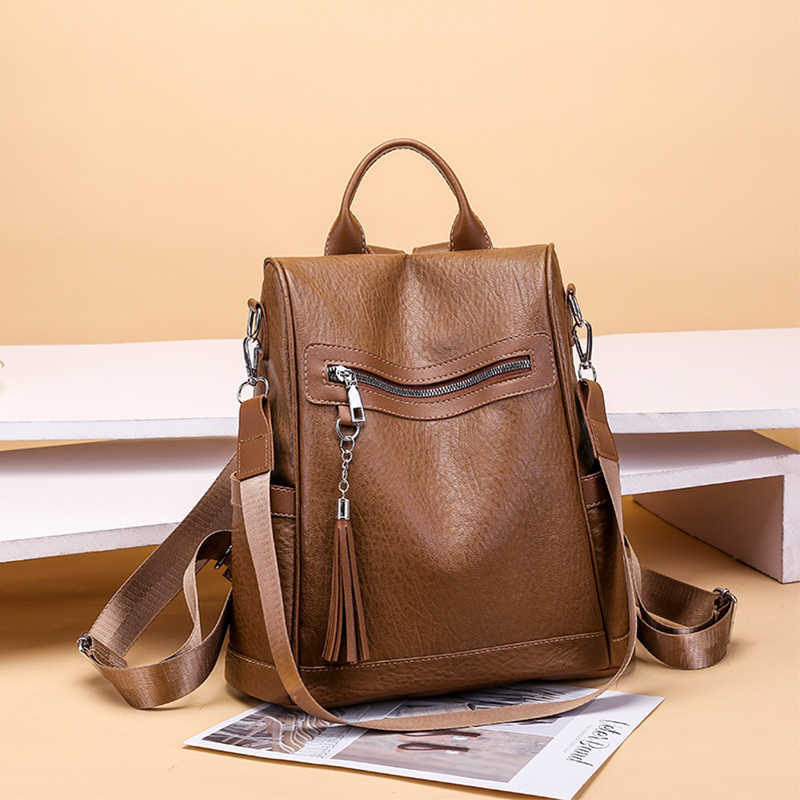 d8633cd5b2c3e ... Backpack For Women Fashion Ladies Backpack Female Leather Tassel  Multi-function University Bags Chain Shoulder
