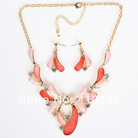 MS17776 Fashion Jewelry Sets Gold Plated Flower Necklace Spring Colors Bridal Jewelry 2014 New High Quality
