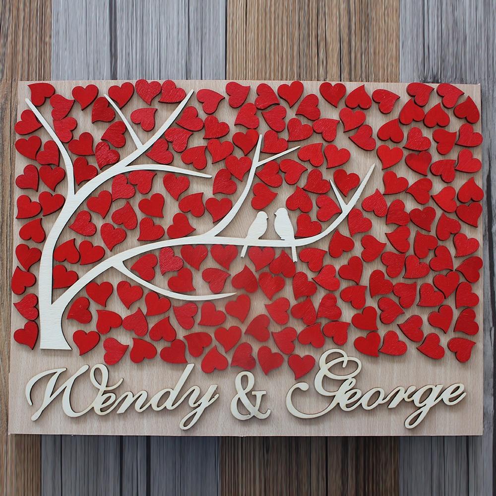 Custom Wedding Guest Book Alternative Wood Personalized