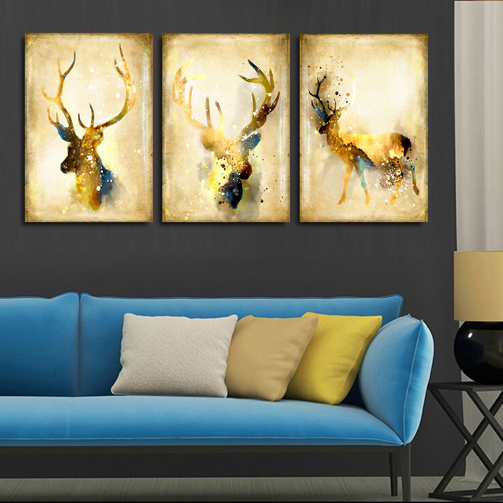 Vintage Watercolor European Luxury Deer Painting Canvas Art Print Poster Painting Wall Pictures
