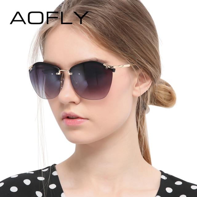 AOFLY Fashion Sunglasses Female Brand Sun glasses Women Designer Cat Eye Glasses Shades Oversized Glasses Crafts Temple UV400