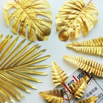 5 sztuk sztuczne liście złote plastikowe sztuczny liść liście palmowe wyspa styl DIY dekoracje ślubne zielone rośliny rekwizyty fotograficzne Party dec tanie i dobre opinie Partigos 05061