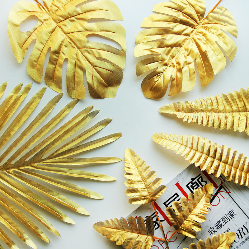 5pcs Fake Leaves Gold Plastic Artificial Leaf Palm Leaves Island Style DIY Wedding Decoration Green Plant Photo Props Party Dec