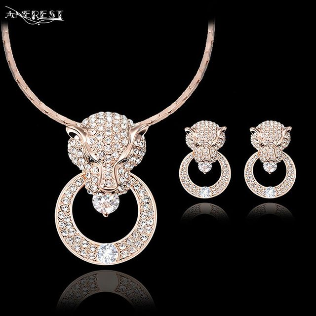 wholesale luxury rose gold leopard jewelry set women costume jewelry