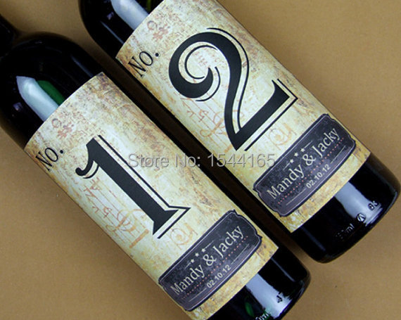 Custom Wedding Wine Label Personalized Bottle Table Number