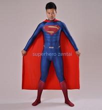 2018 Nejnovější muž z ocelového kostýmu Spandex 3D Shad Superman kostým s Cape Male Superhero kostým na zakázku