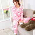 2017 New pajamas pink cotton winter adult homewear long sleeve pants hedging sleepwear casual costume pockets pijama feminino