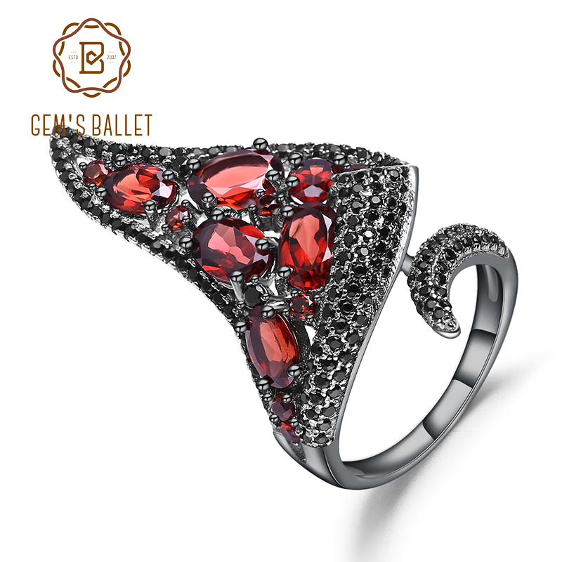GEM'S BALLET Natural Red Garnet Gemstone Open Finger Irregular Triangle Ring  925 Sterling Sliver Vintage Punk Ring For Women-in Rings from Jewelry & Accessories    1