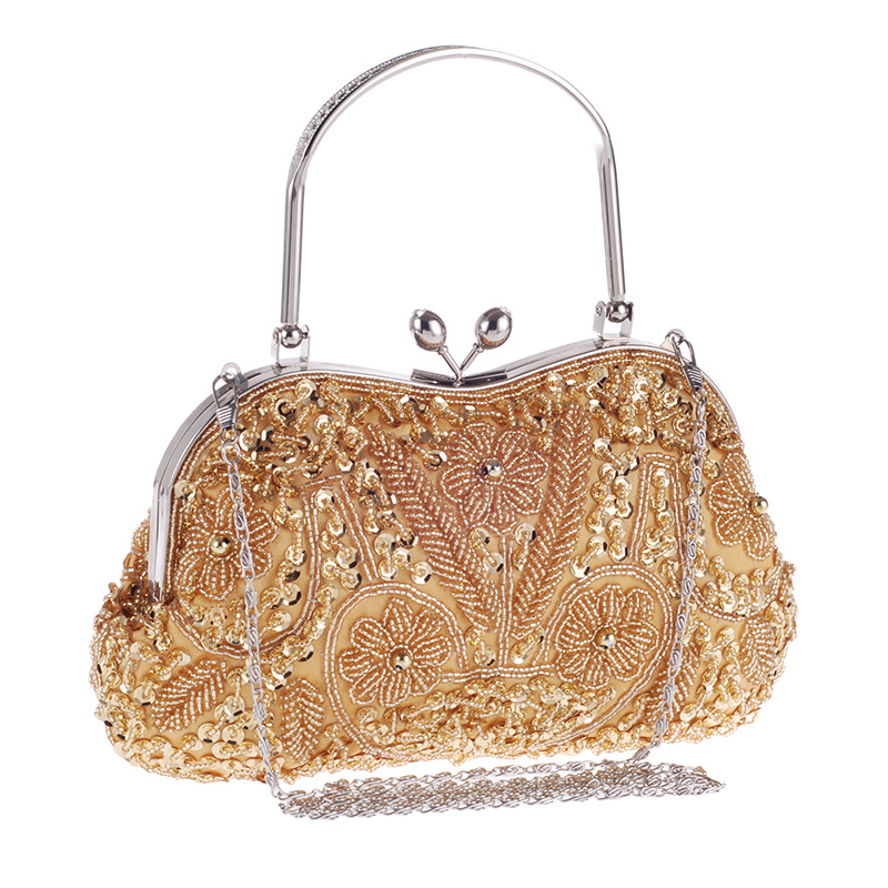 Women's Beaded Evening Clutch Full of Shining Sequins and Diamonds, Evening Handbags with Detachable Chain, Messenger Bag